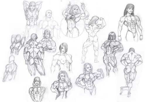 Muscle Girls sketches by hardbodies