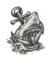 Shark and anchor Tattoo by funkt-green