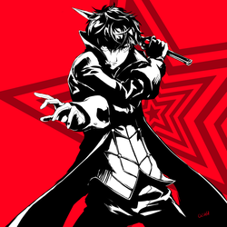 Persona 5 Joker black and white by ozkh