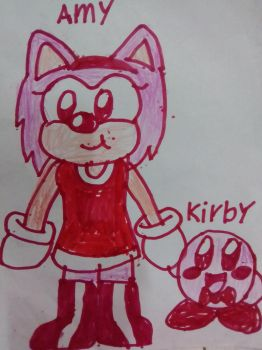 Amy Rose and Kirby by cuddlesnam