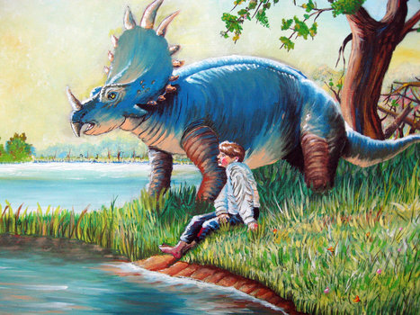Triceratops dinosaur with boy by doctrina-kharkov