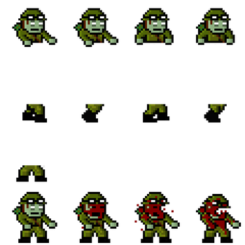 Army zombie spritesheet by CantStrafeRight