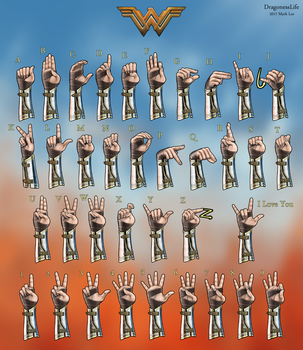 Wonder Woman ASL Alphabet and Numbers by DragonessLife