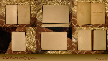 Old books and paper pack by Comacold-stock