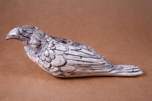 crystal heart porcelain crow by buraczek