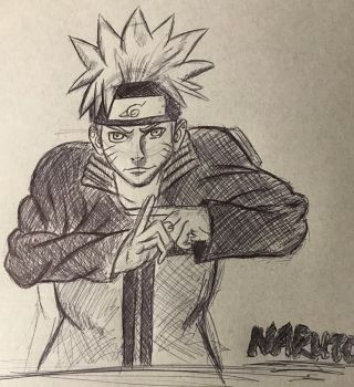 Naruto Pen Sketch by CalebP1716