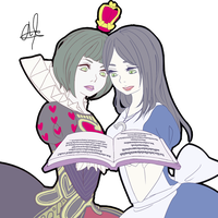 Alice and red queen render by blackshiki