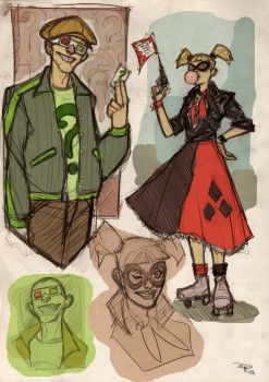 The Riddler and Harley Quinn Rockabilly by DenisM79