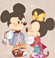 retro mickey and minnie by aoii91