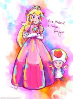 Princess Toadstool and Toad by MissNeens