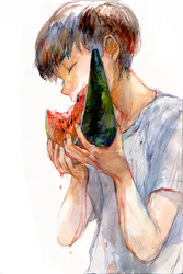 Watermelon Boy by minahamu