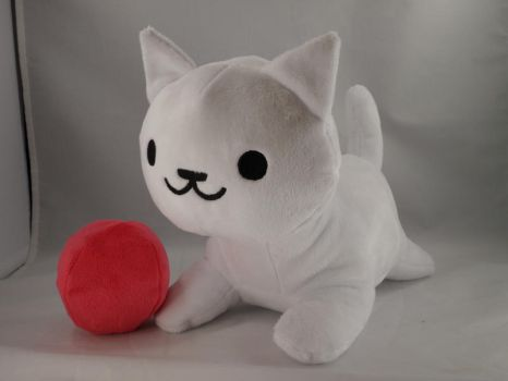 Neko Atsume - Snowball with Red Ball Plush by makeshiftwings30