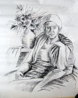 A woman with flowers - carbon drawing by gosia-jasklowska