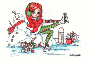 Coloring - Ice Skating by JadeDragonne by JuliaToffy