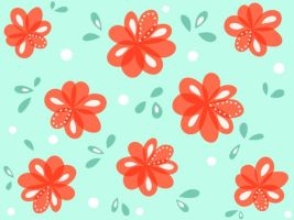 Cheerful Red Flowers Pattern by azzza