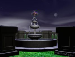 The Faery Fountain at Night by Faerybug