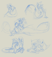 Mer Grooming Sketches by CoffeeAddictedDragon