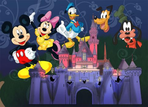 Disney Castle and Characters by Liahona