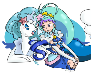 Cure Mermaid and Primarina by mizukijin