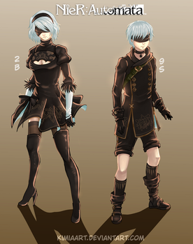 2B and 9S- Nier: Automata by KimiaArt