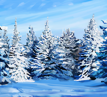 blue and white snow by fluffySlipper