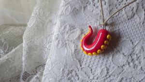 Red and Yellow Tentacle Charm Necklace by lighryou