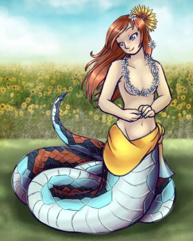 Sunflower Garter Snake by Nine-Tailed-Fox