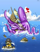 Giant Squid Love by SeanDrawn