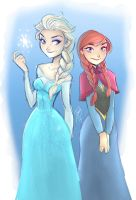 Elsa and Anna - Frozen by DaveJorel