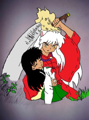 inuyasha and kagome paint by Ash-a-bash