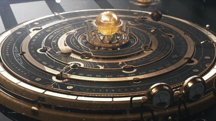 Steampunk Astrolabe/Orrery Table Close-up 1 by dchan
