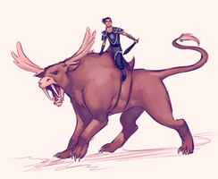 Sokka and his Moose lion. by moni158