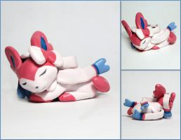 Sleeping Sylveon Sculpture by LeiliaClay