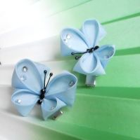 Blue kanzashi butterflies by elblack