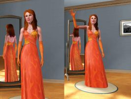 Phoenix as a Sim, Fire Gown by SheWhoShines
