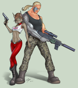 Lynx And Pitbull by lyteside