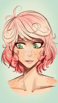 Pink Hair Sketch :3 by Aunyst