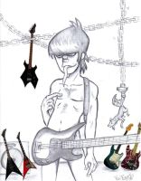 Murdoc in the Guitar Room by GhettoRainbowCat