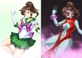 Sailor Jupiter (before-after) by HaryuDanto