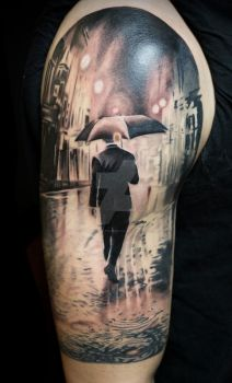 Singing in the rain tattoo by SelfmadeTattooBerlin