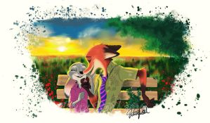Nick Wilde and Judy Hopps by Lorelalaley