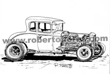 Custom hot-rod old school, black and white artwork by Roberto67