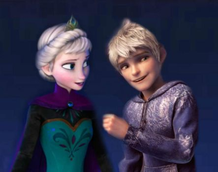 Jack Frost and Queen Elsa by darknEi