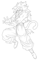 Gogeta Super Saiyan 4 - Lineart by ChronoFz