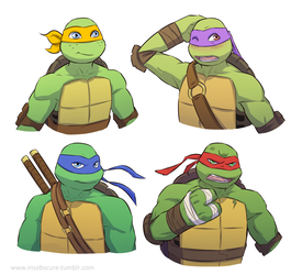 Some quick Nick turts by MsObscure