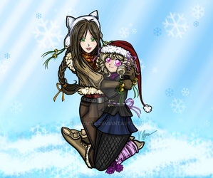 Anime Winter Girls Snuggling by Tazmaa