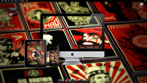 Obey Sticker Wallpaper by turnpaper