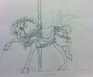 Carousel Horse Sketch by LyhliTheLuminescent