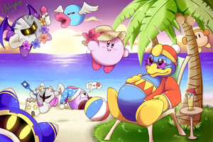 Kirby and friends at the beach by Ele-nya