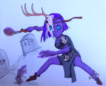 30 characters challenge : #13.  Necromancer by Kitten-Draws